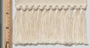 """Cotton Natural Knotted Tzitzit 3""""; This tzitzit is placed on the border of your garment if you select this option."""
